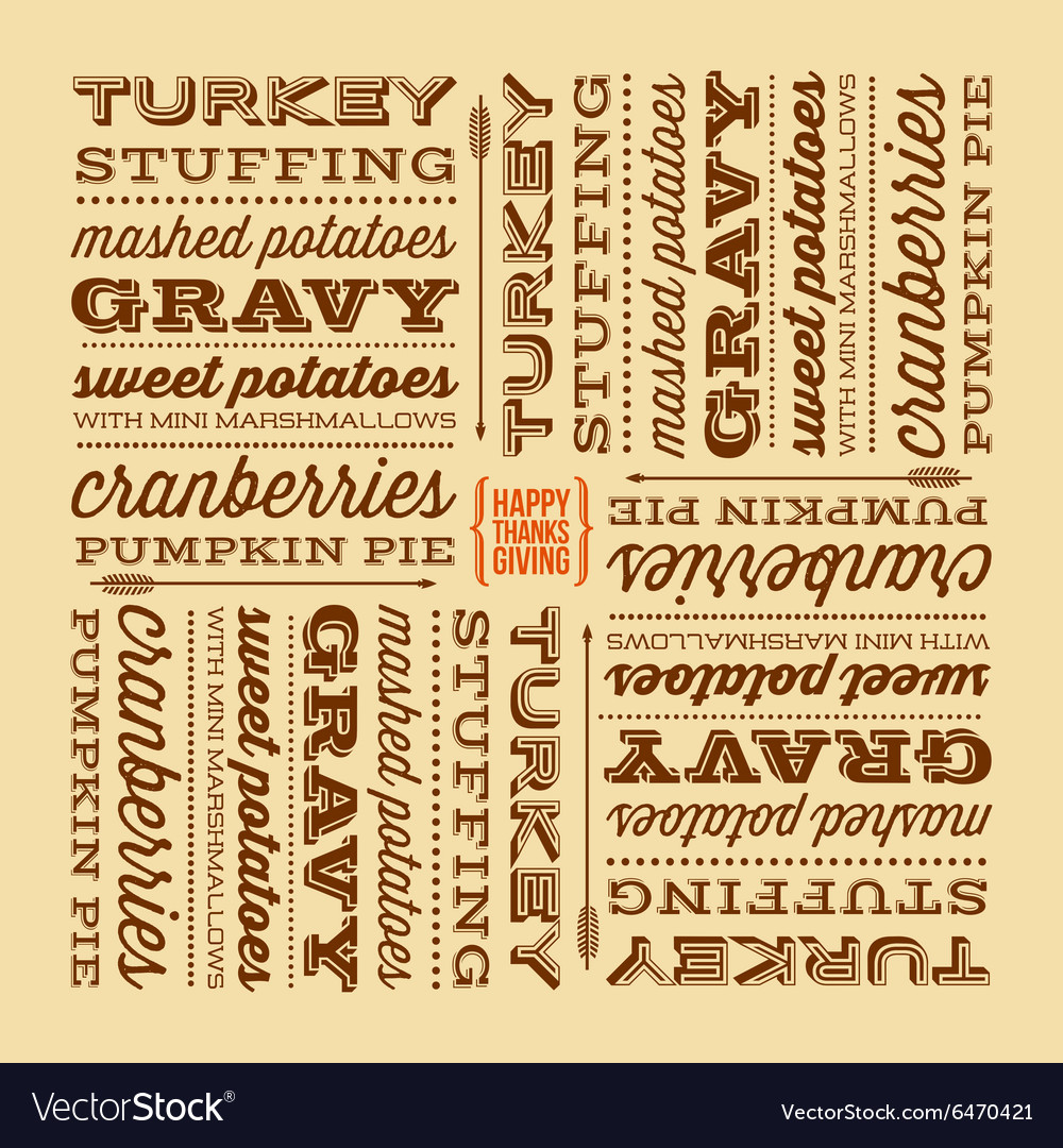 Thanksgiving greeting card with retro fonts vector image m4hsunfo
