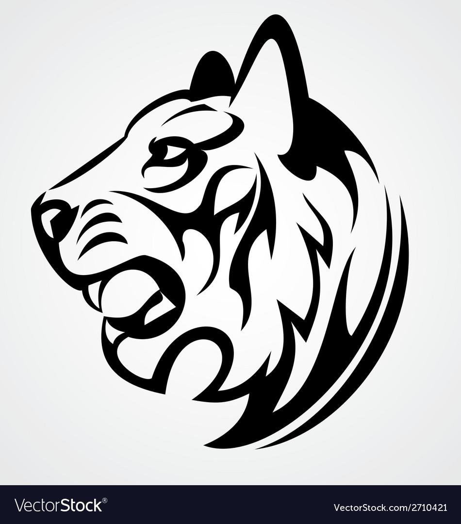 Tiger Head Tattoo Design Royalty Free Vector Image