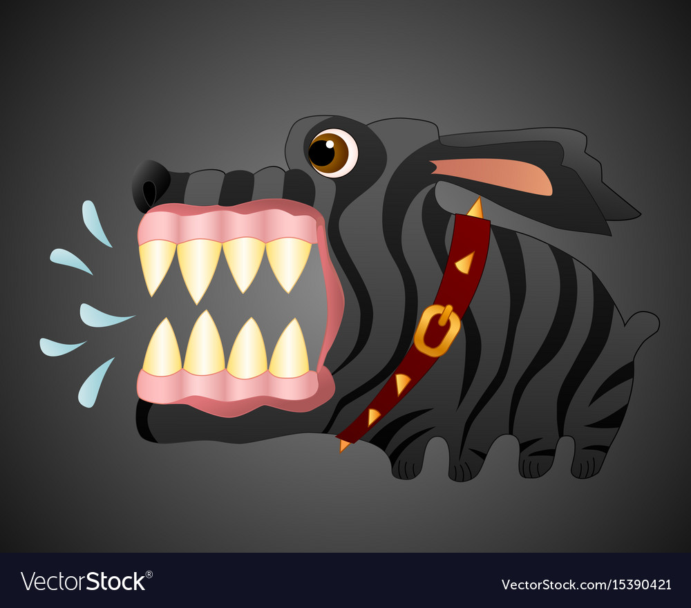 Very angry black dog cartoon character