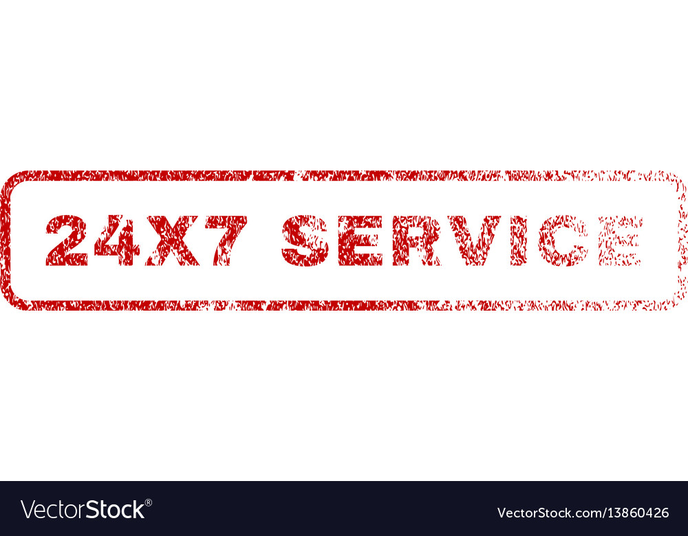 24x7 service rubber stamp vector image