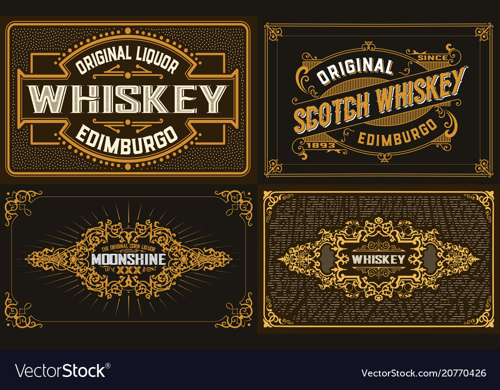 4 old labels for packing western style