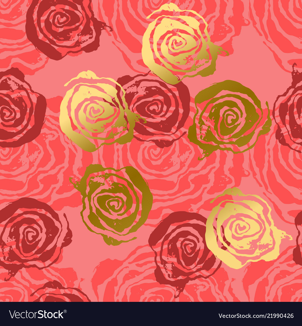 Abstract Roses Pink And Gold Background Flower Vector Image