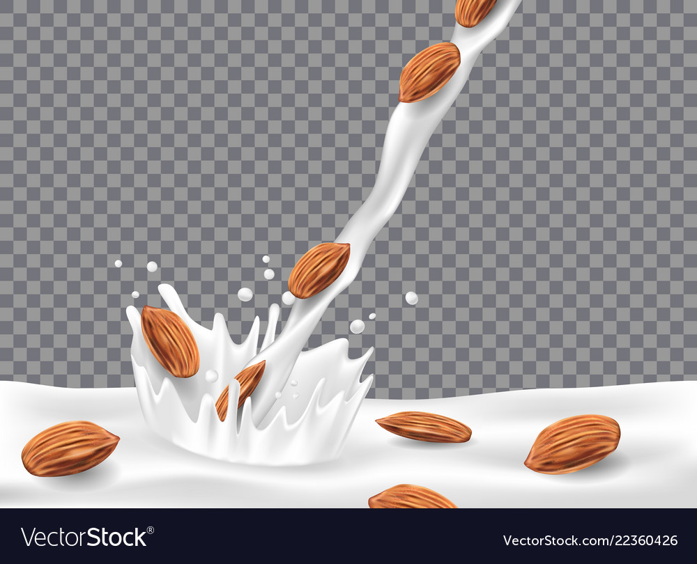 Almond milk or yogurt pouring down with splash and
