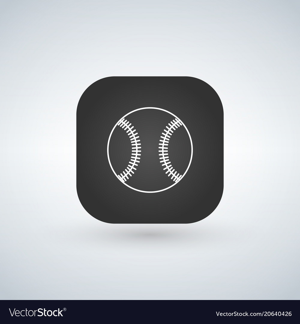 Baseball icon or logo in line style app square on