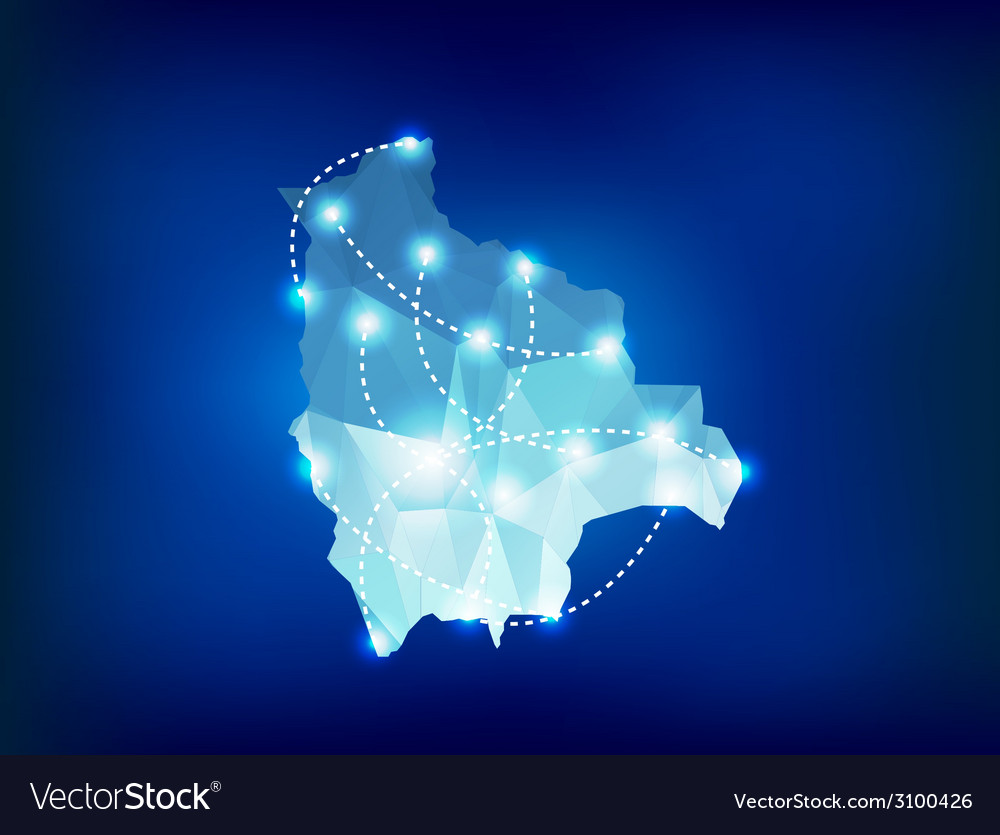 Bolivia country map polygonal with spot lights vector image