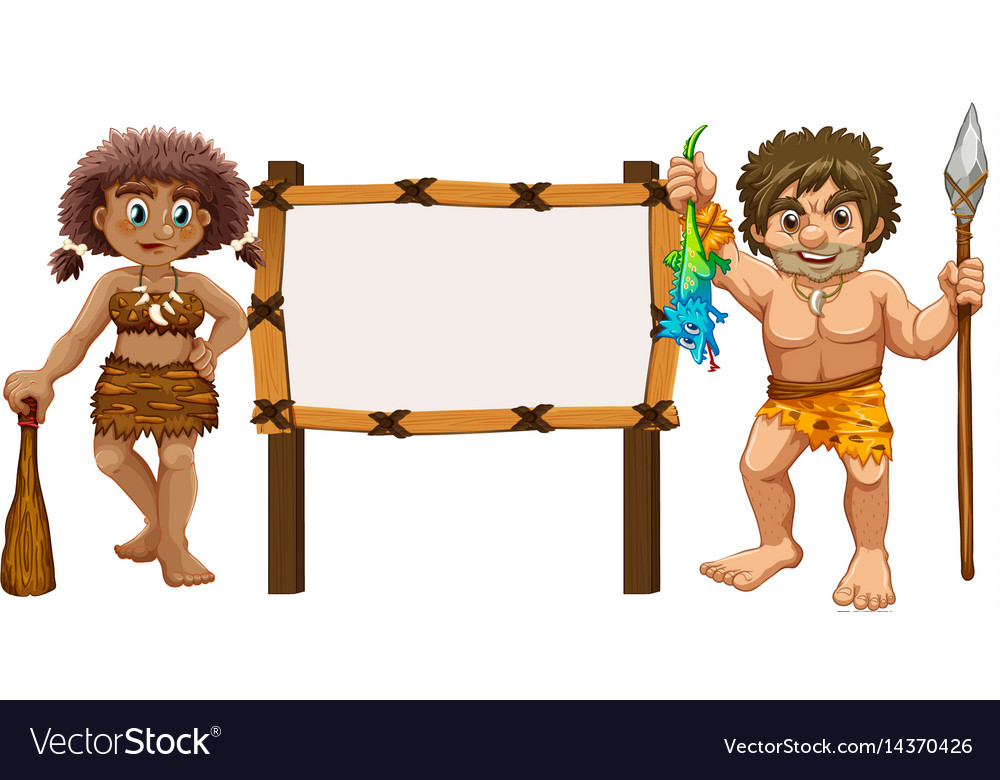 Border template with two cavemen