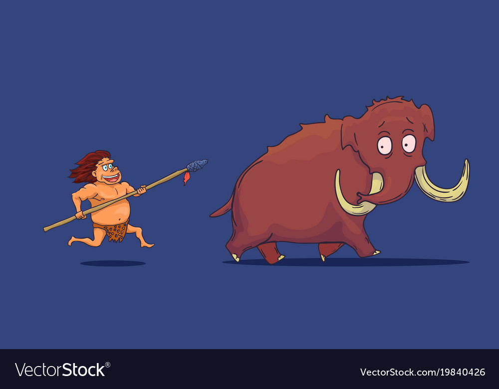 Cartoon caveman with spear hunting mammoth