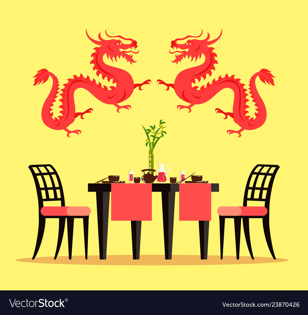 Chinese Restaurant Furniture And Interior Design Vector Image