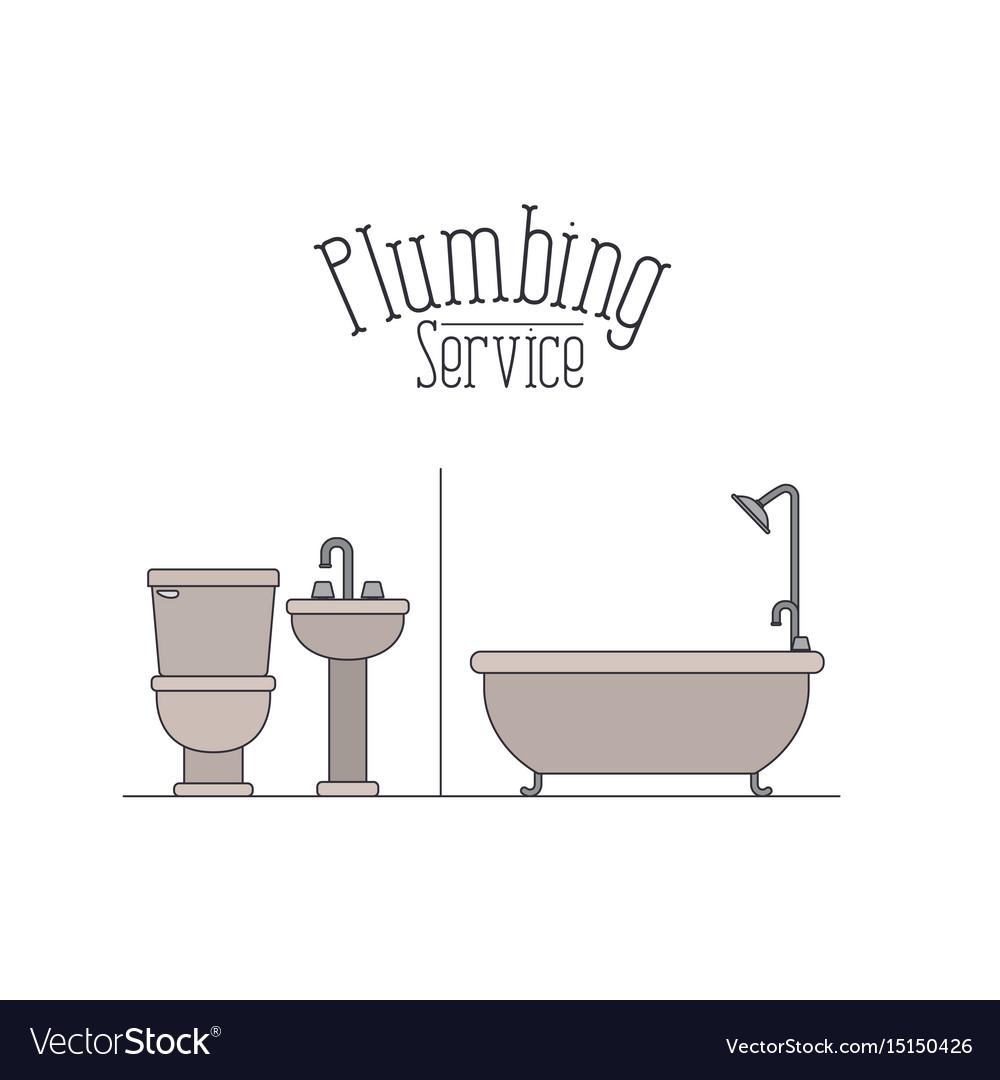 Color poster of bathroom plumbing service