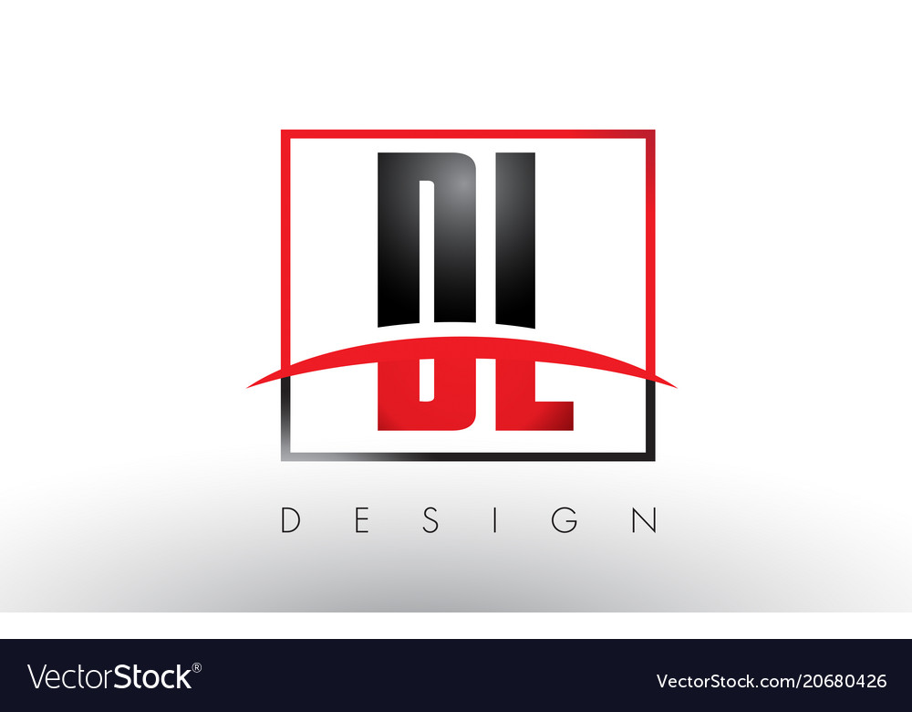 Dl d l logo letters with red and black colors and