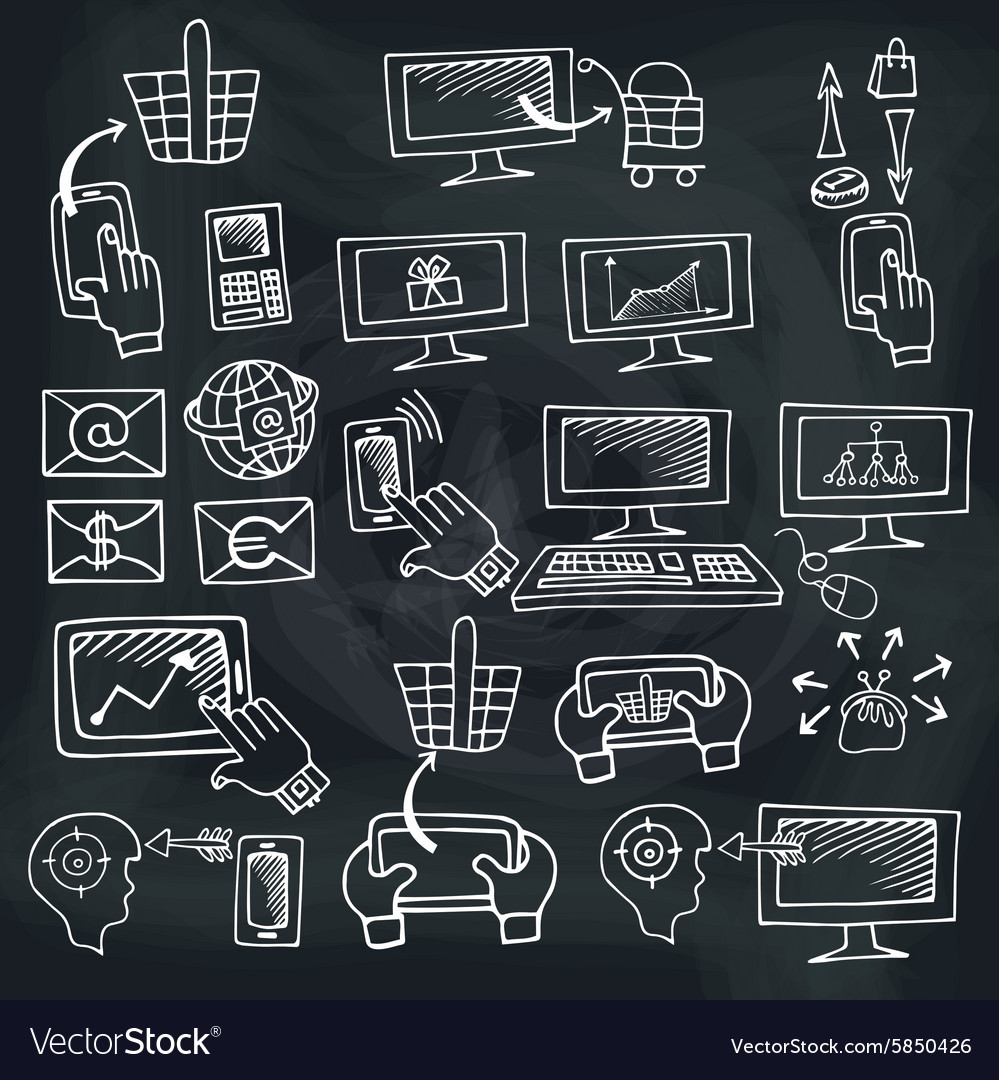 Doodle scheme seo communication with icons