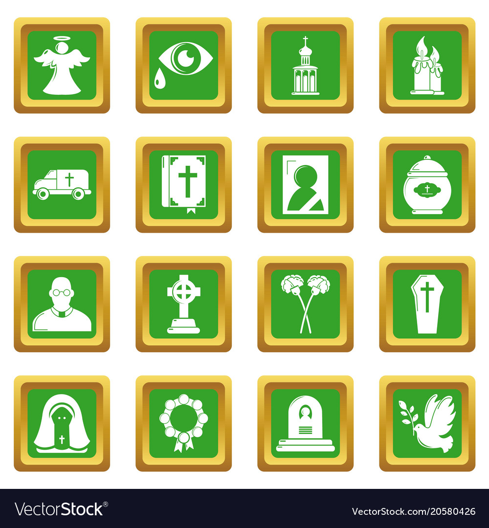 Funeral ritual service icons set green square