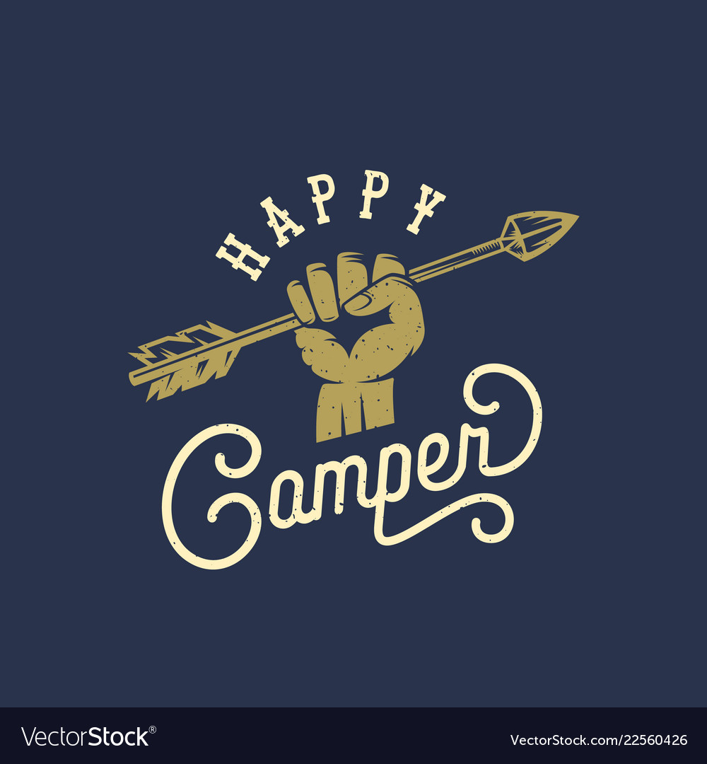 Happy camper abstract vintage sign symbol