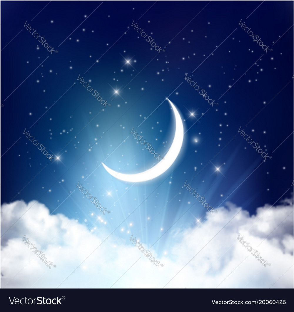 Night sky background with with crescent moon