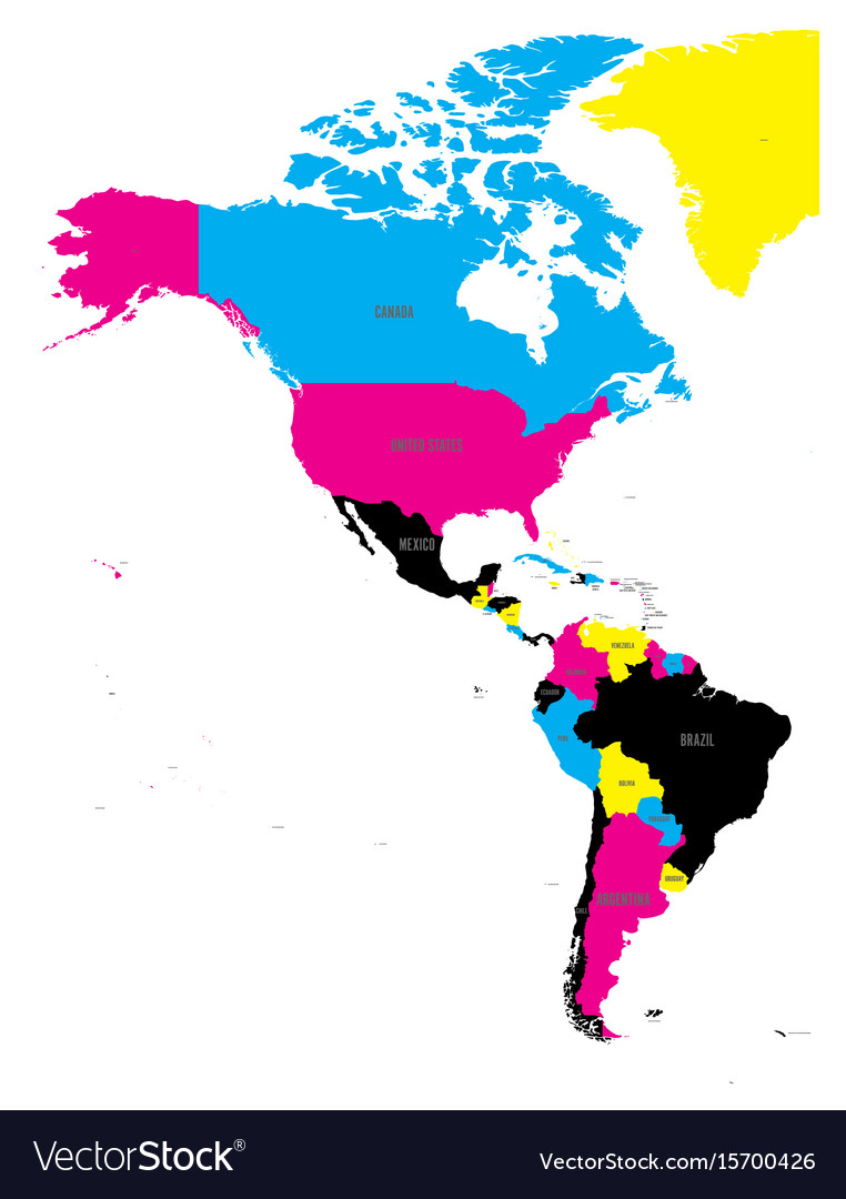 Color Map Of North America.Political Map Of Americas In Cmyk Colors On White Vector Image