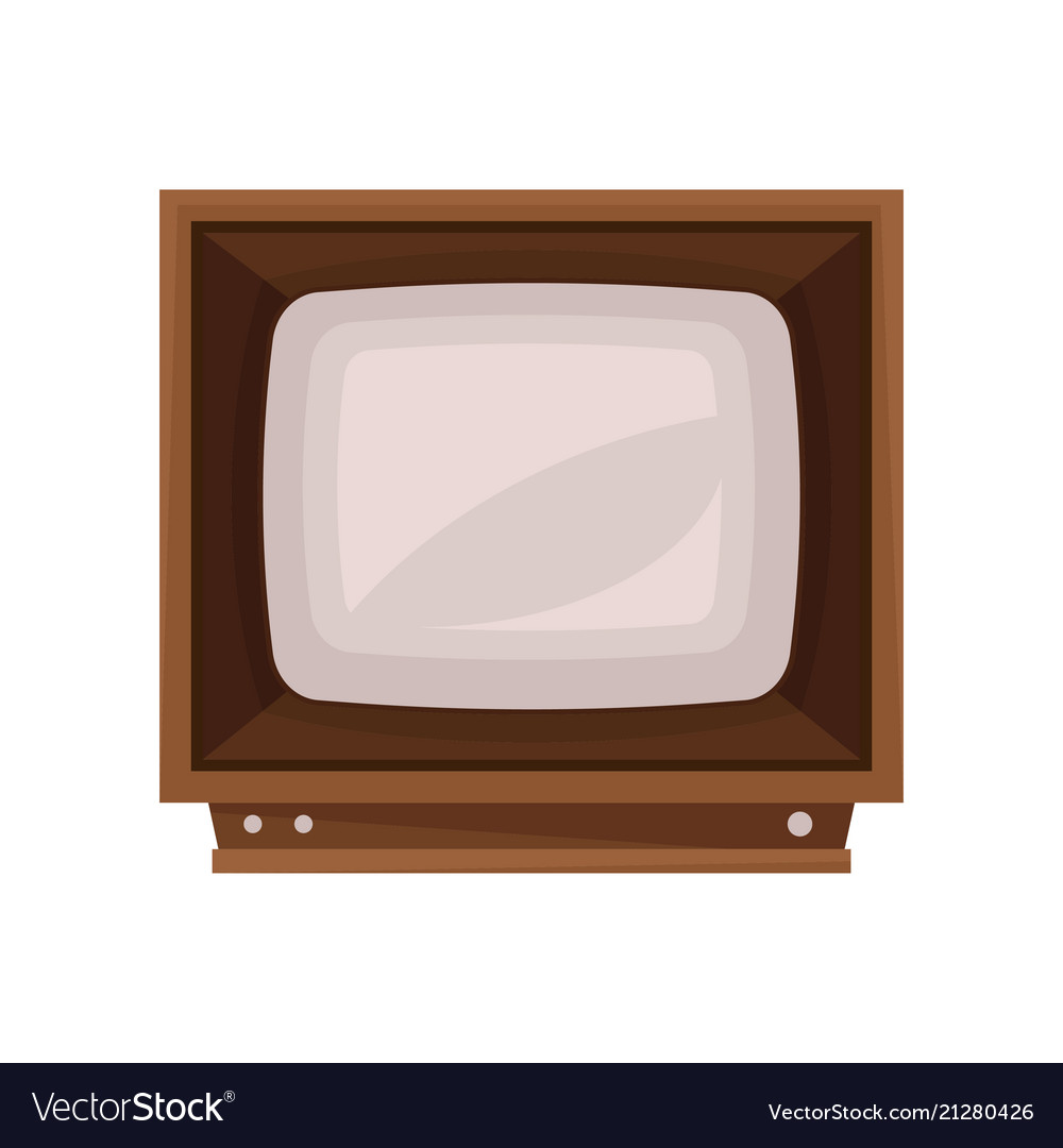 Retro tv in the wooden case on