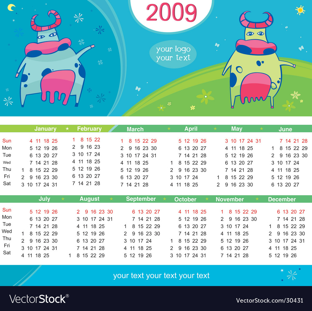 2009 calendar with cute cows