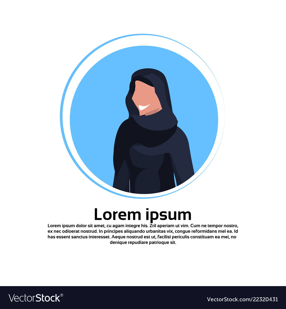 Arabic woman face avatar wearing traditional