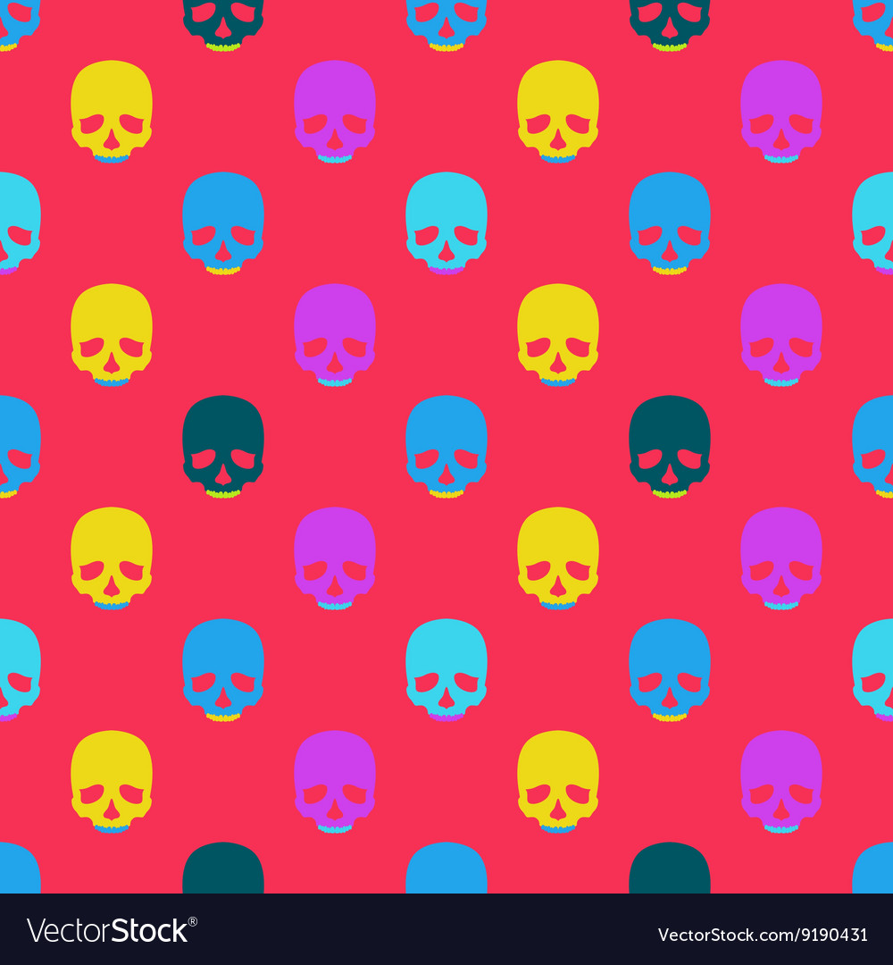 Colorful seamless pattern with skull
