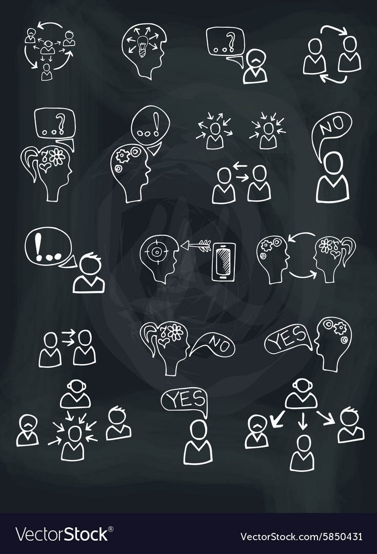 Doodle scheme people communication with icons