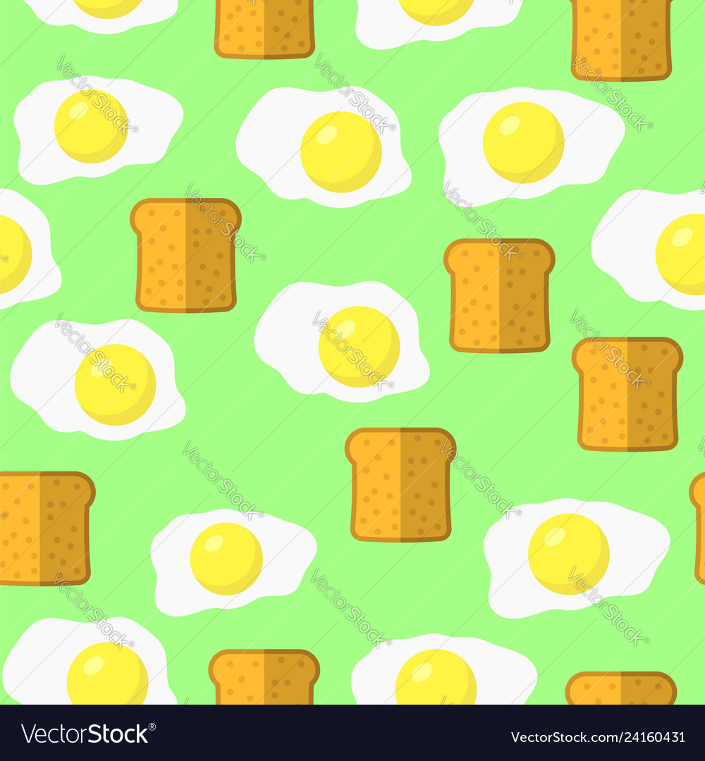 Eggs and bread seamless pattern on green