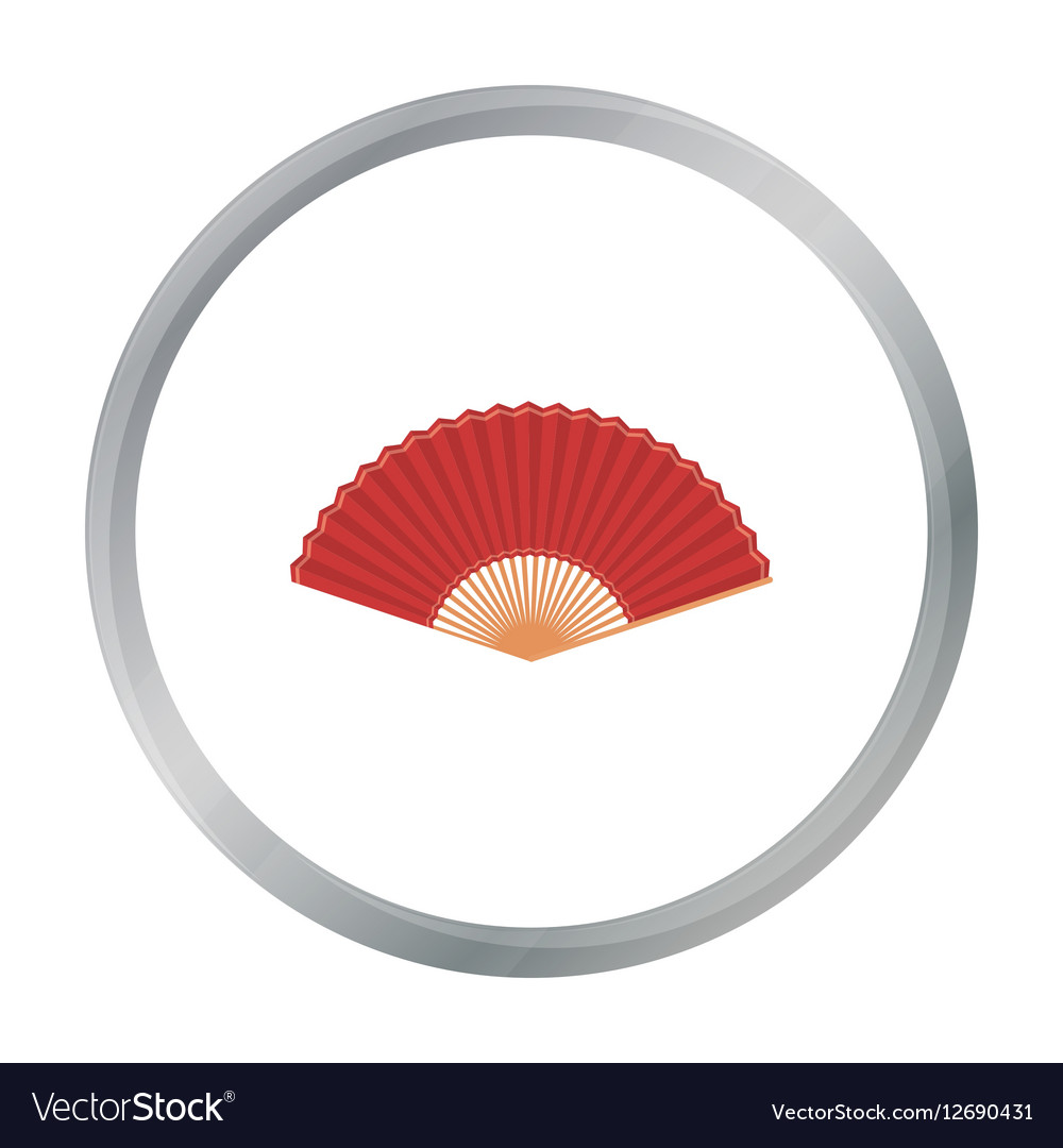 Folding fan icon in cartoon style isolated on