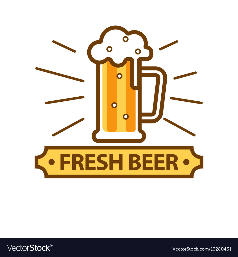 Fresh Light Beer Glass With White Foam Logo On Vector Image