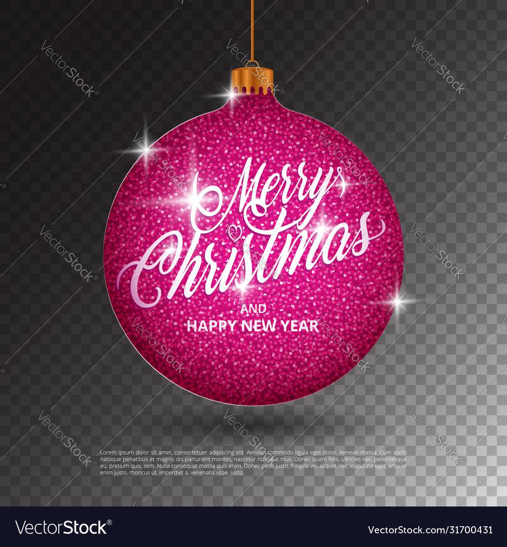 Hanging christmas ball with sparkling metal