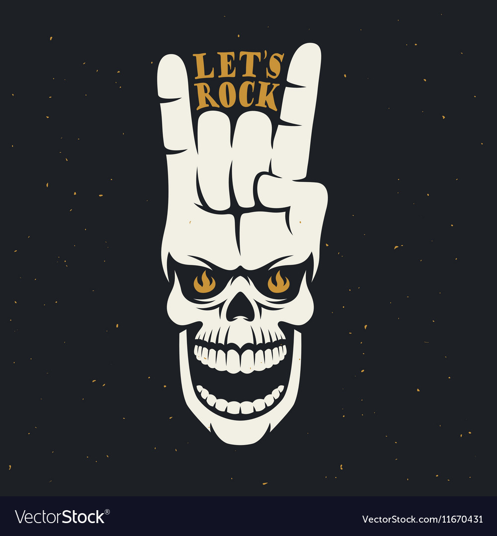 Lets rock music related poster with skull and hand