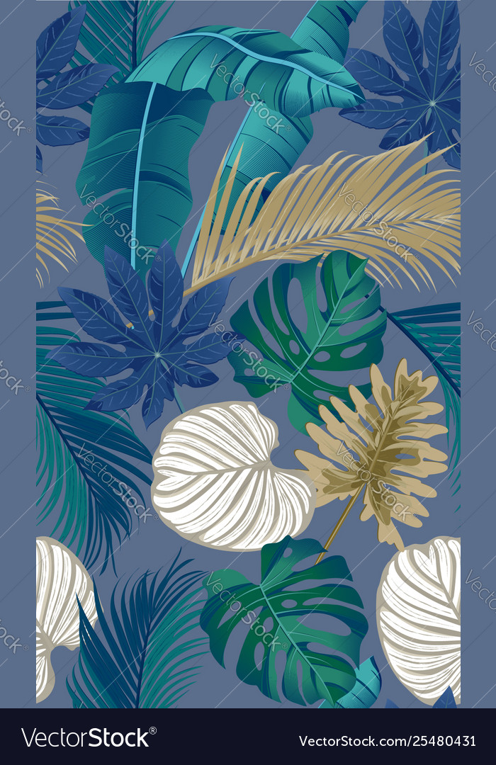Luxury seamless pattern with tropical leaves on
