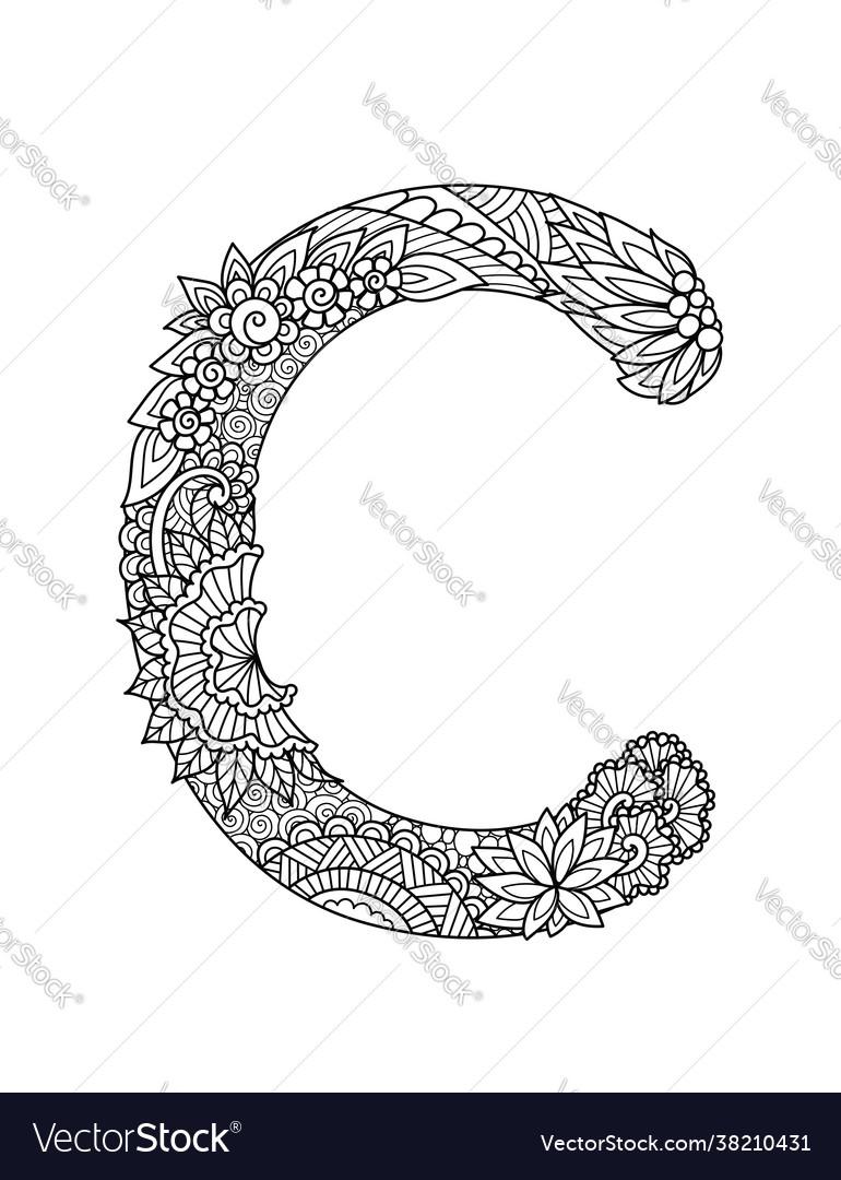 Mandala letter c monogram adult coloring book