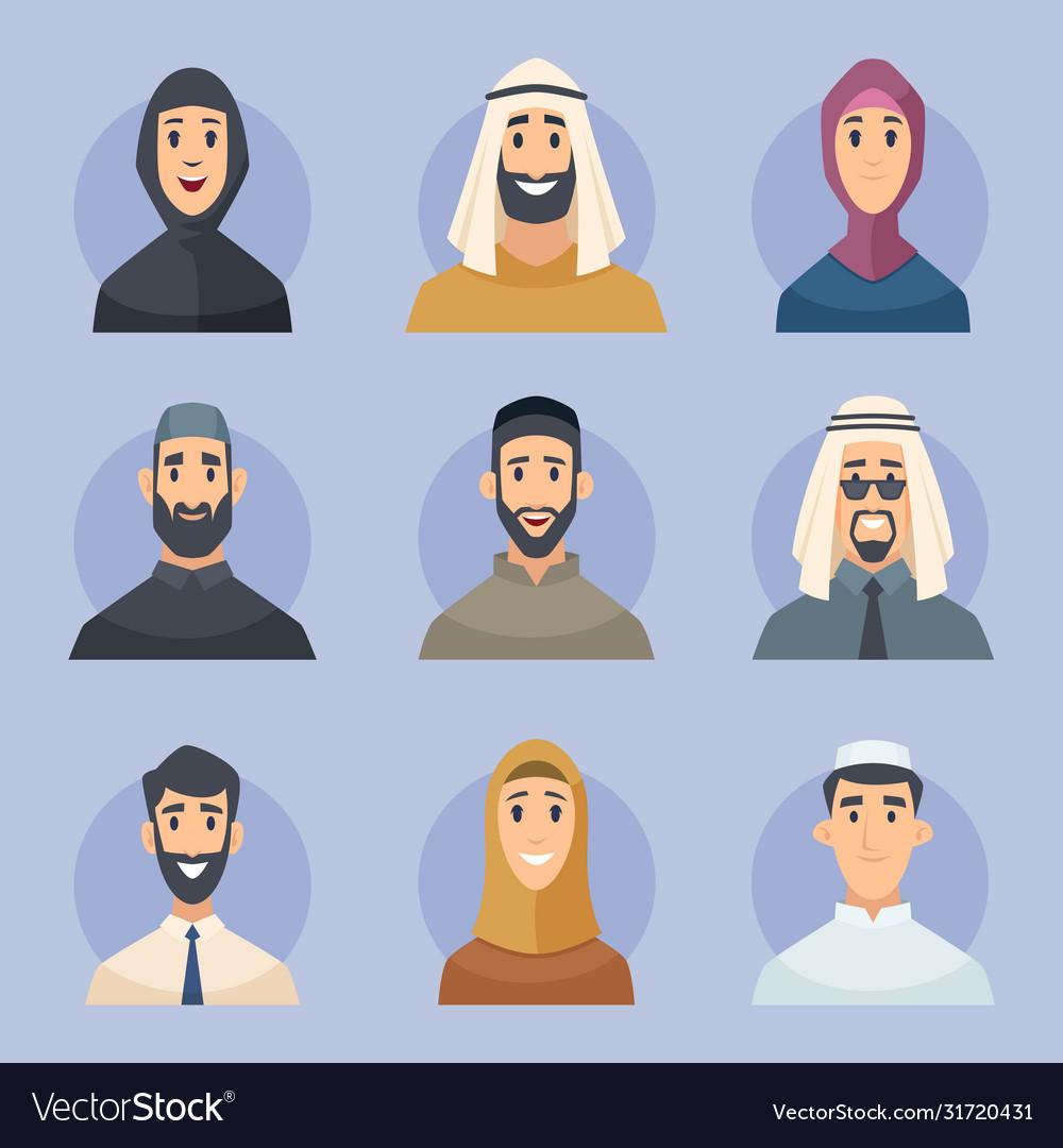 Muslim avatars arabic male and female characters