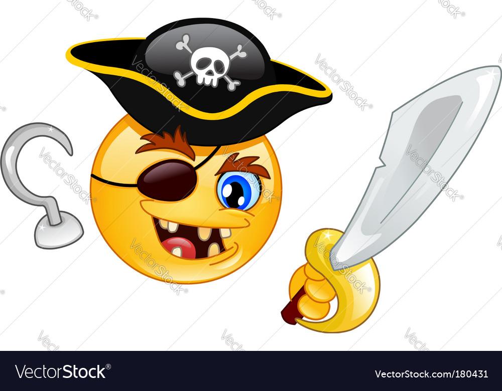 Pirate emoticon vector image