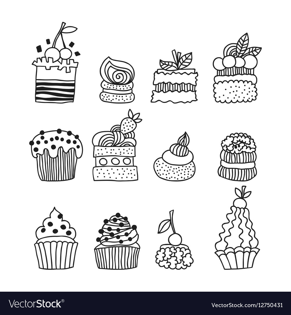 Set black and white doodle cakes for coloring book