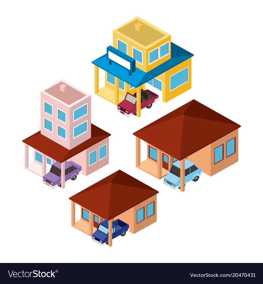 Set buildings and cars scenes isometric
