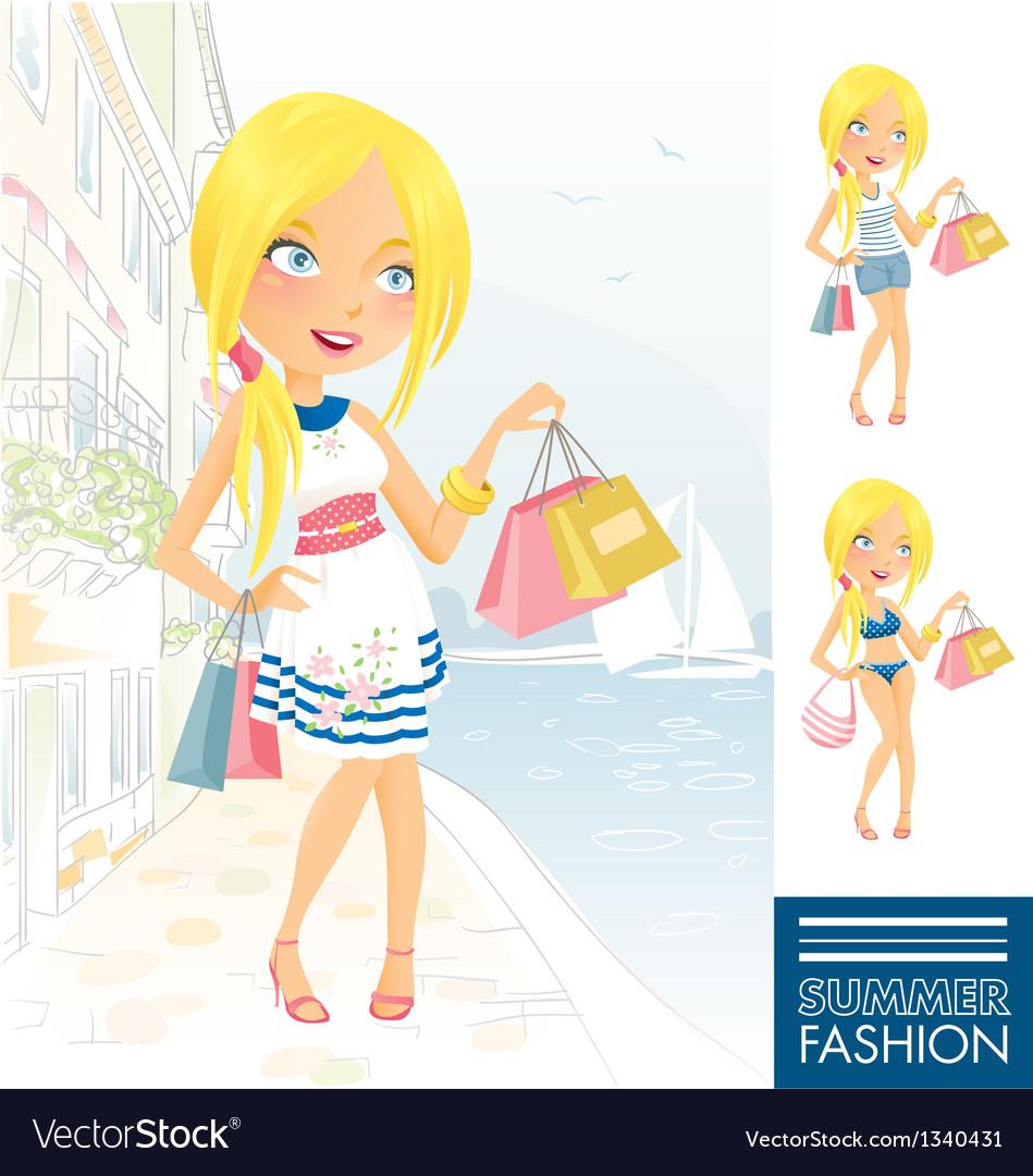 Summer Fashion Girl vector image