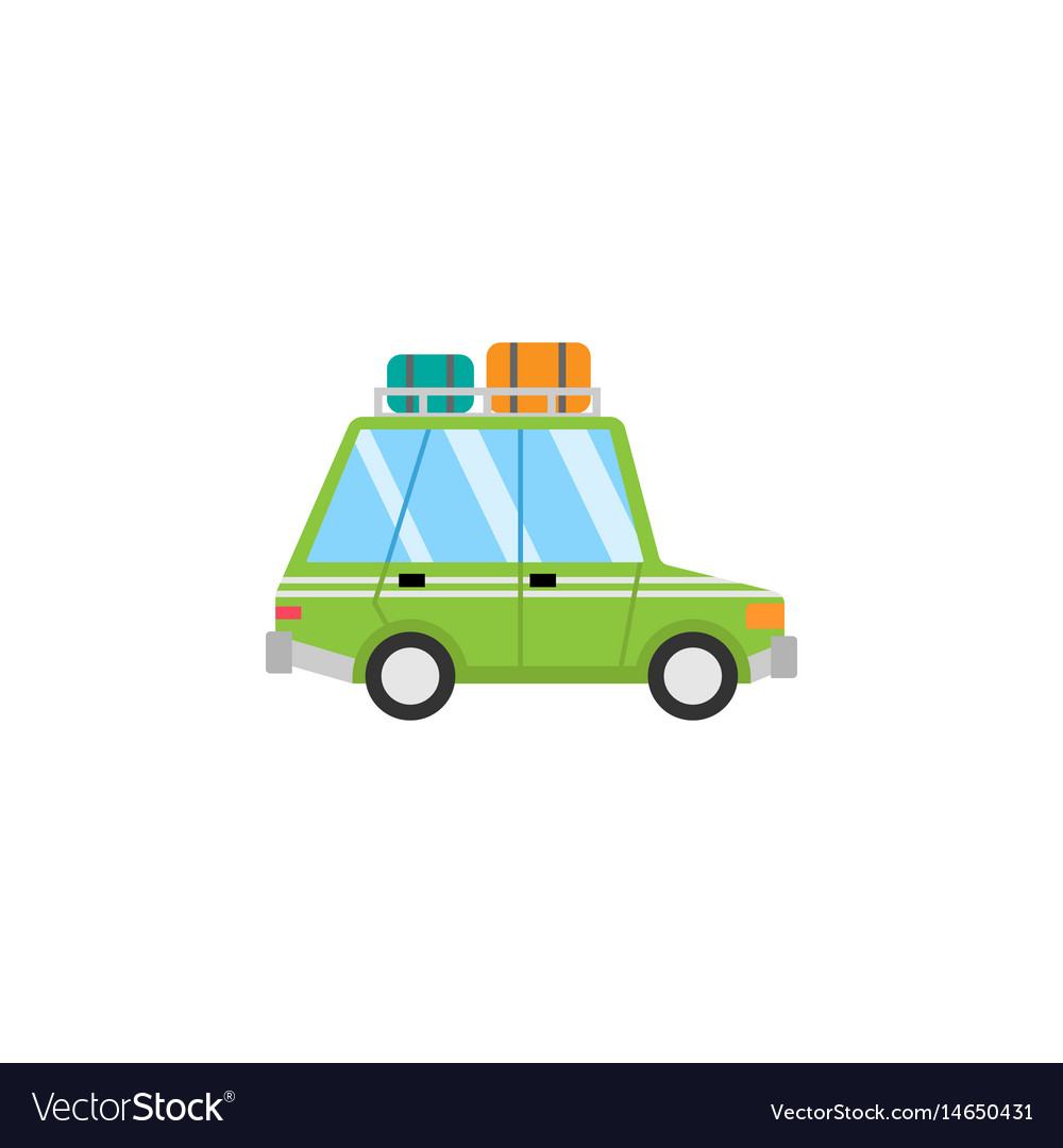 Travel car flat icon travel tourism