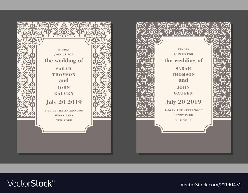 Vintage ornate cards in oriental style line art