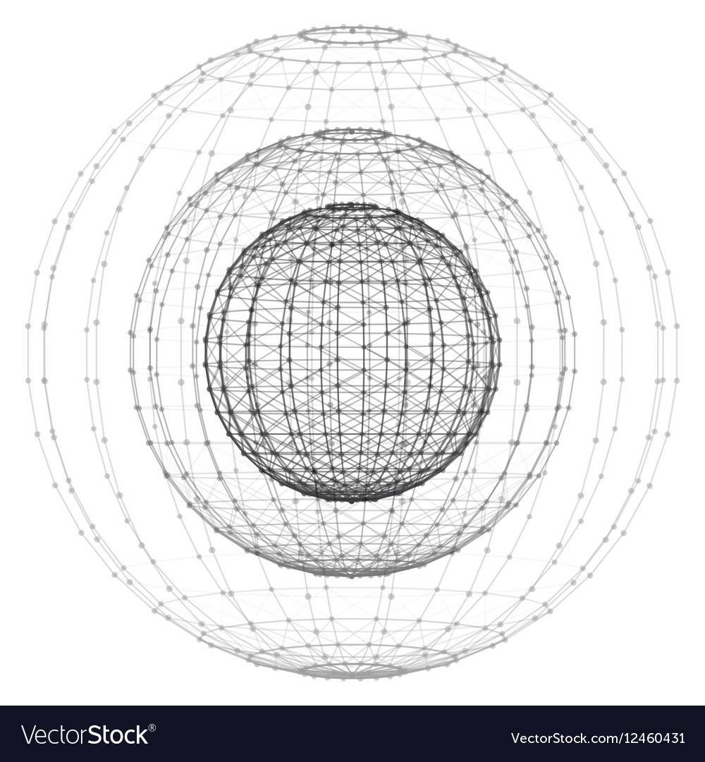 Wireframe polygonal element 3D sphere with