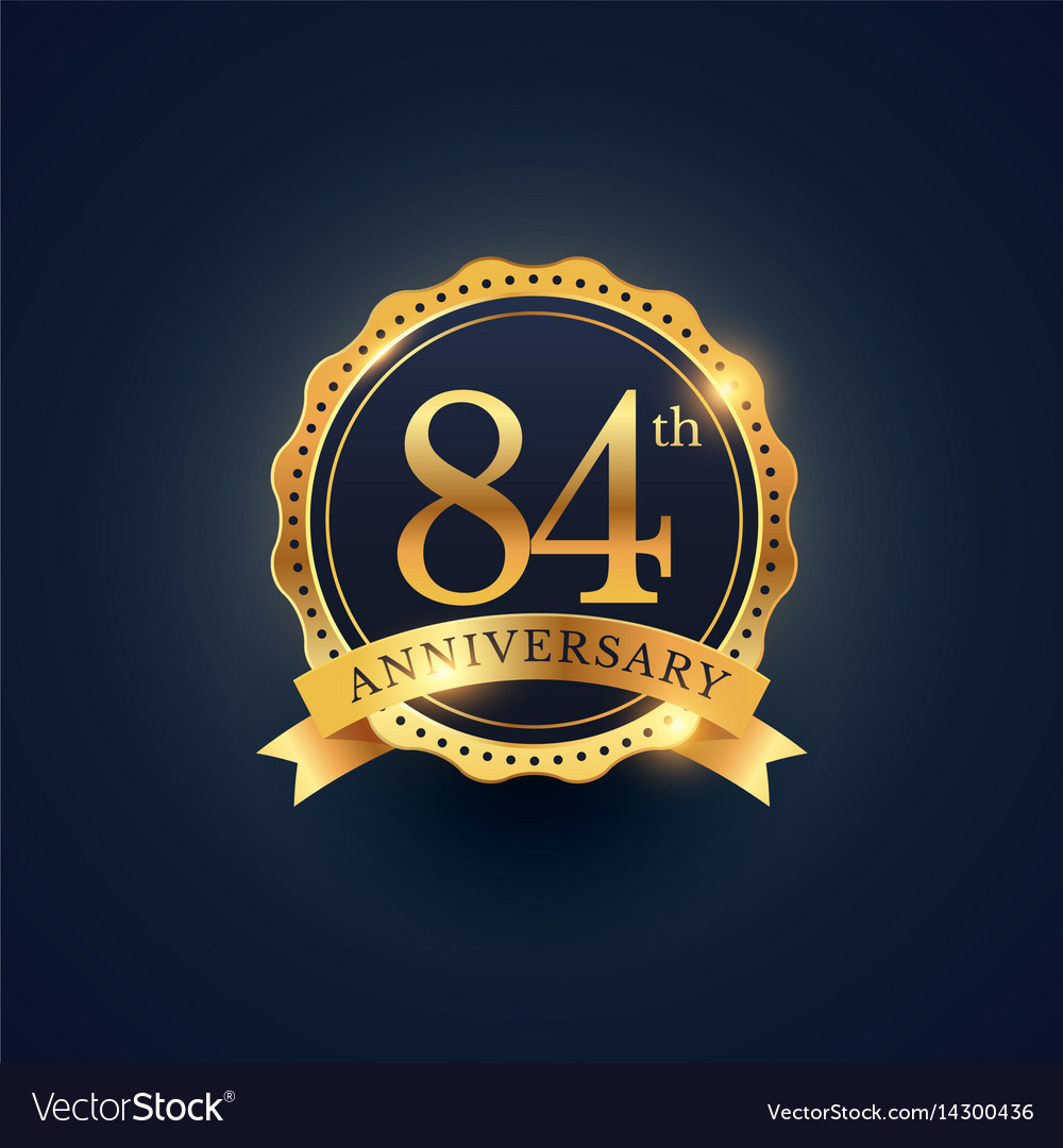 84th anniversary celebration badge label in