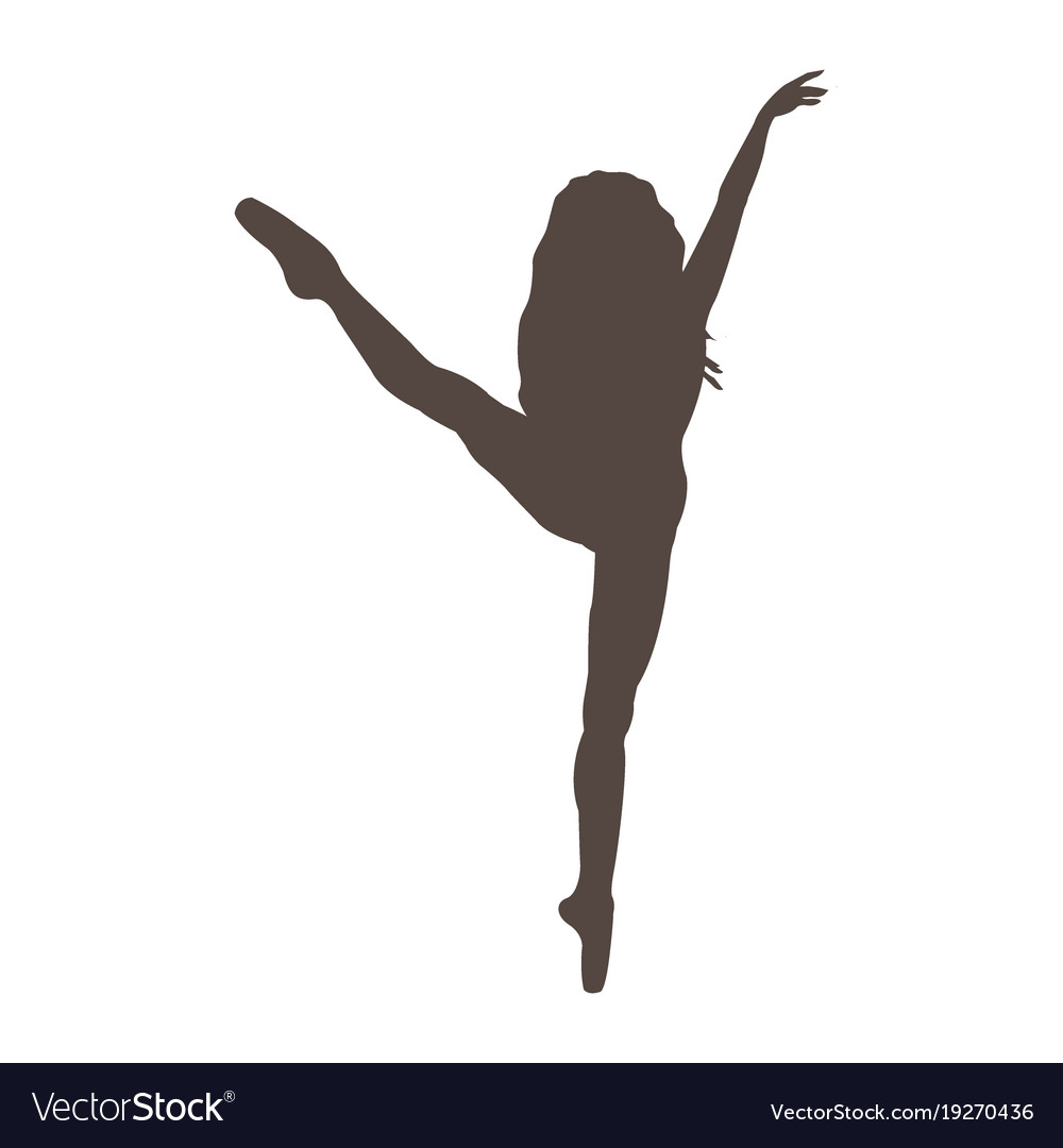 Ballerina silhouette on white background