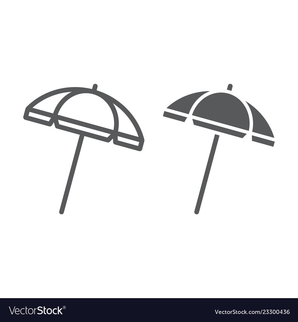 Beach umbrella line and glyph icon travel and