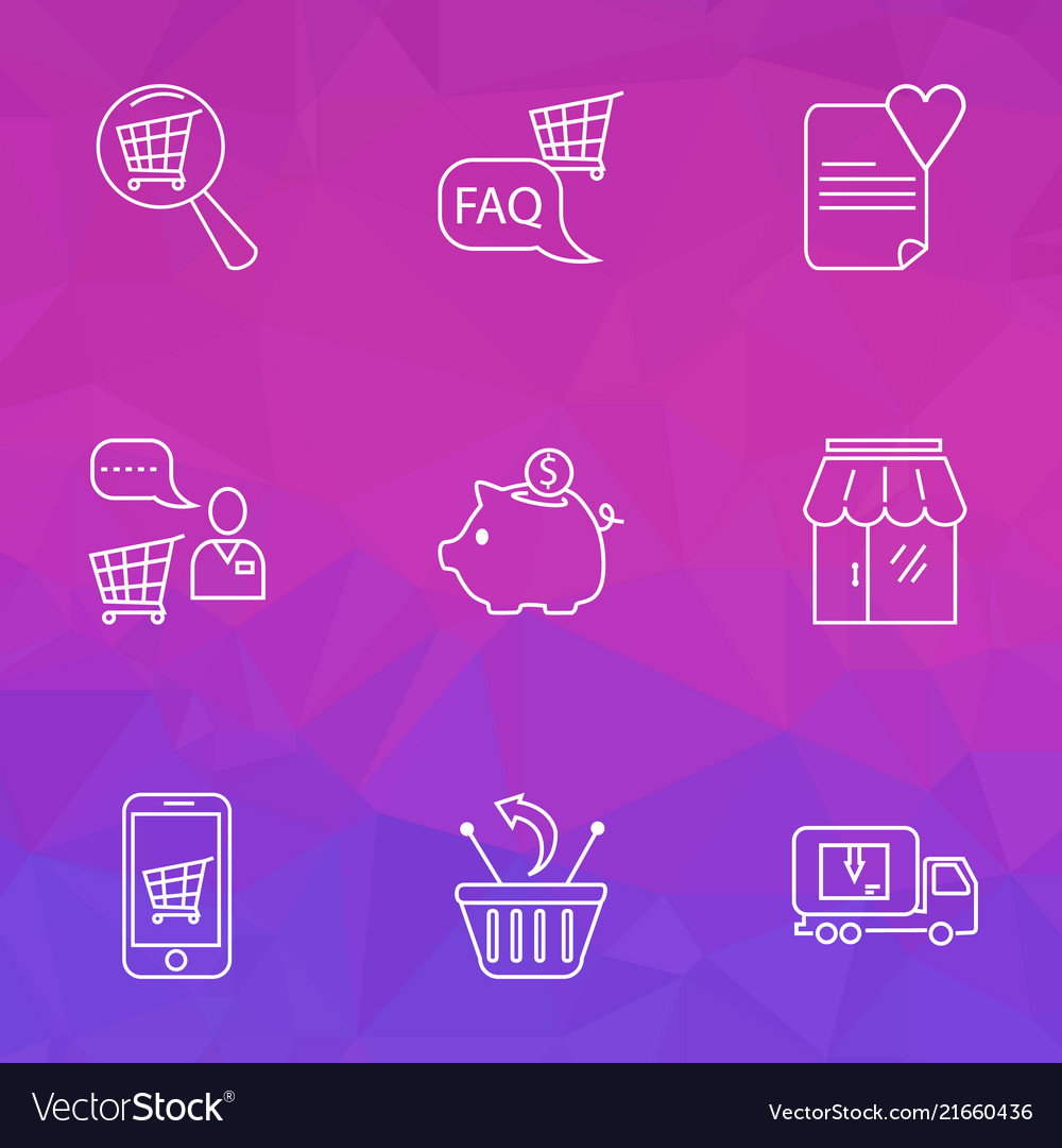 Commerce icons line style set with search shop