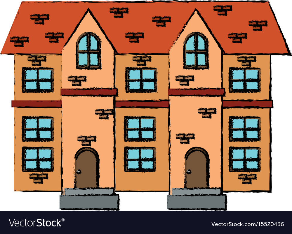 Drawing house brick roof tile windows vector image