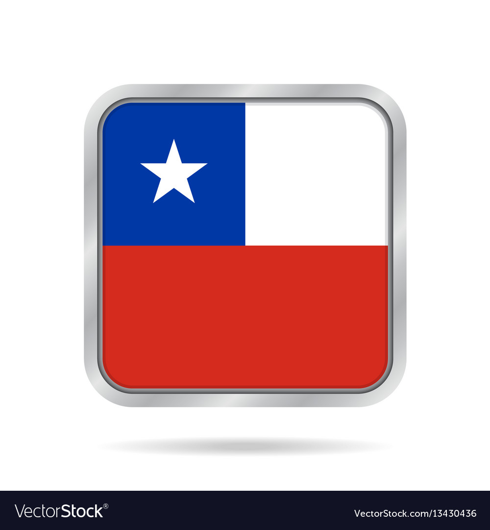 Flag of chile shiny metallic gray square button