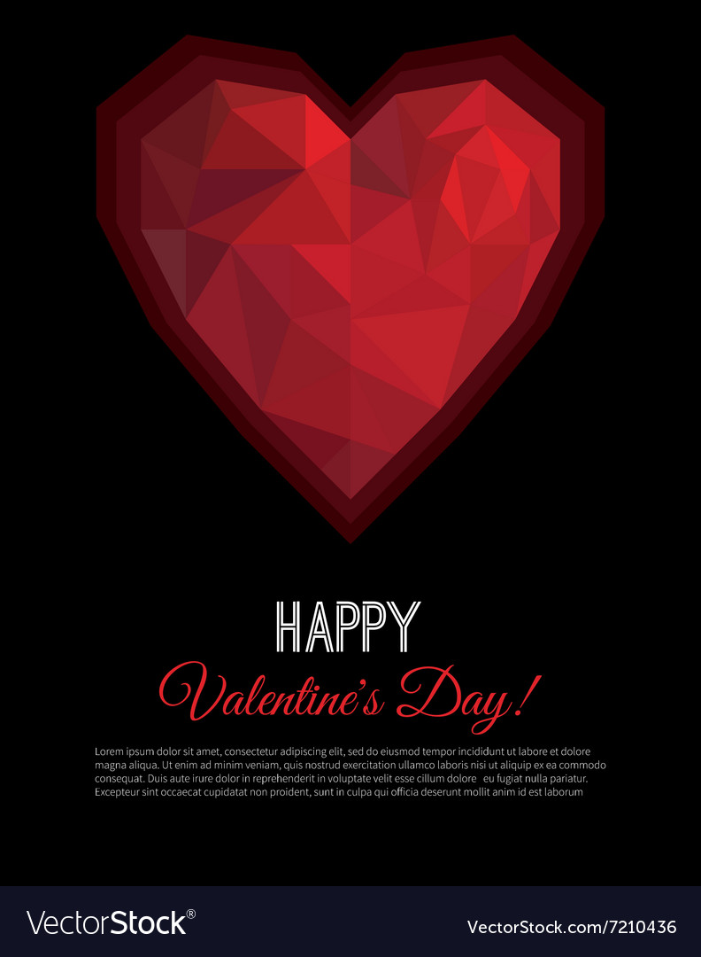 Greeting card Valentines Day in low poly style