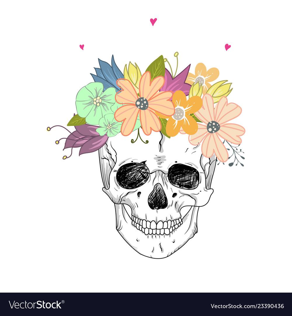 Human skull and flower