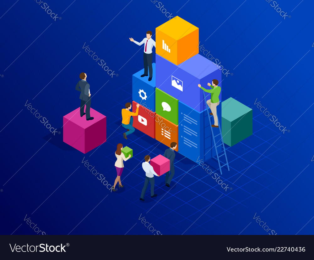 Isometric site creation concept webpage design