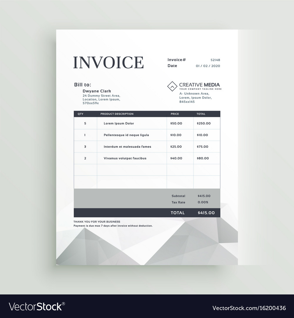 Quotation Invoice Template Design Royalty Free Vector Image - Invoice template design