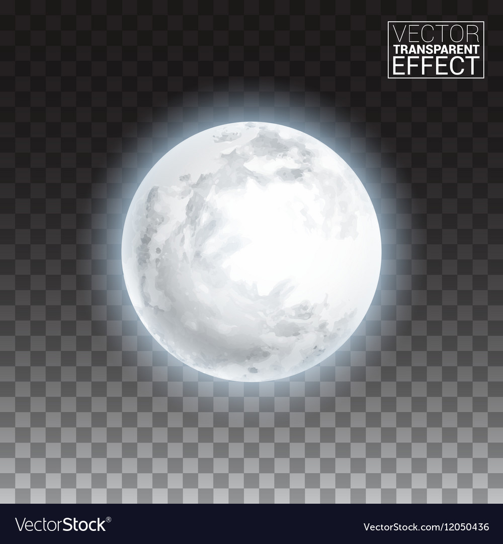 Realistic detailed full big moon isolated on